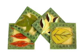 Vintage Leaf Coasters in Group