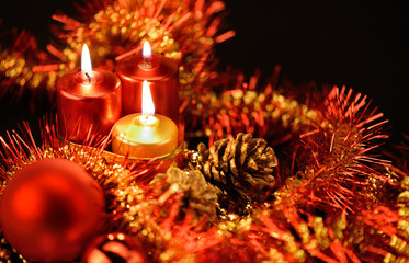 Festive decorations with candles