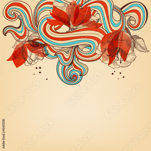 Poster Abstract bloemen Beautiful romantic floral background vector illustration