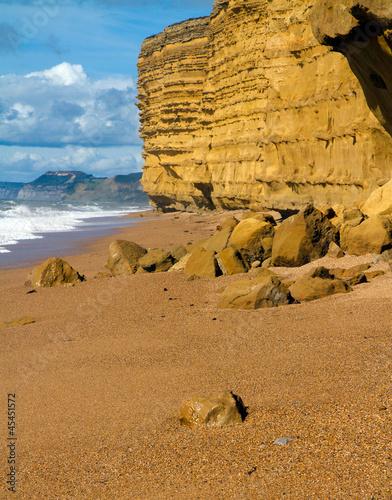 Burton Bradstock beach Dorse spectacular sandstone cliffs