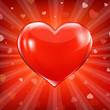 Red Heart And Background With Beams