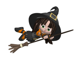 Cute Witch On A Broom Stick