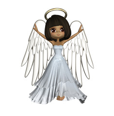 Render Of A Cute African American Angel