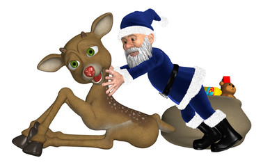 Christmas Elf With Reindeer