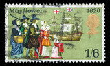 UK mail stamp showing Pilgrims and the Mayflower, circa 1970