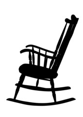 Wintage Rocking Chair Stencil - Left Side