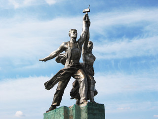 Famous Soviet monument of the Worker and Collective Farmer