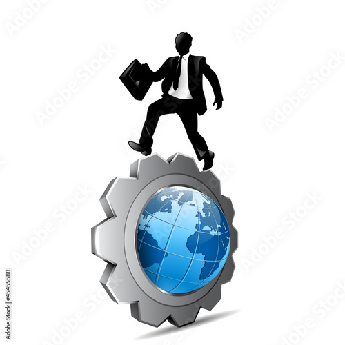 businessman on the world