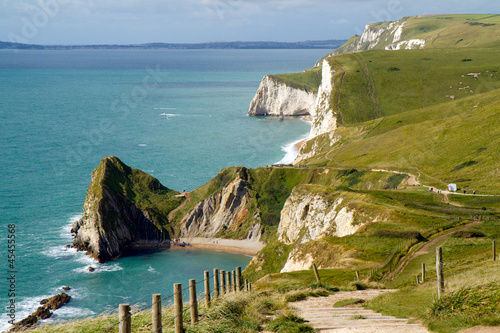 Poster Dorset coastline looking from Lulworth Cove towards Durdle Door