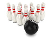 3d Bowling ball aimed at bowling pins from top