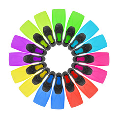 eight pairs color flippers for diving on white background