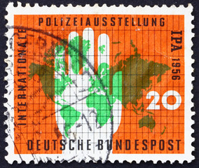 Postage stamp Germany 1956 Map of the World and Policeman's Ha