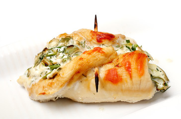 roulade of chicken breast with cheese and herbs