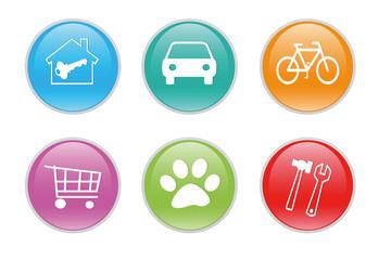 Iconos de colores para la web con diferentes símbolos