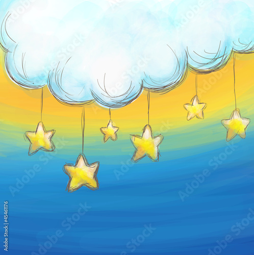 Aluminium Hemel Cartoon style cloud and stars background