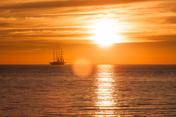 Old sail ship silhouette