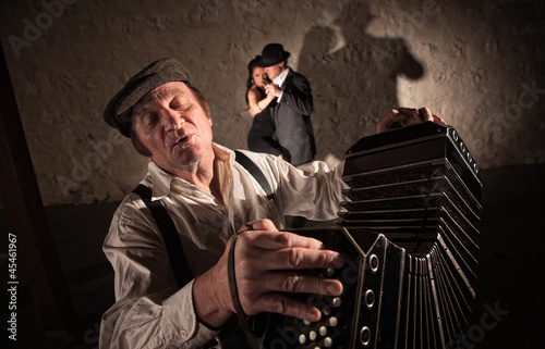 Two Dancers Near Bandoneon Player