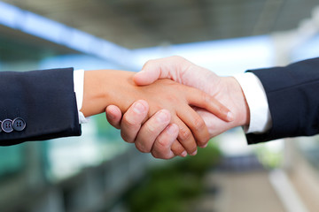 Businessman and businesswoman shaking hands at the office