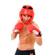 Portrait of young Boxer fighter with boxing helmet and gloves ov