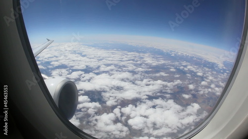 Aerial view of Europe out of an airplane window