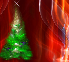 Christmas fur-tree in the night forest. Series fractal world