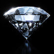 Leinwanddruck Bild - Shiny diamond isolated on black background
