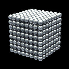 Magnetic metal balls cube - clipping path