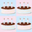 Birthday cakes background over soft pink and blue
