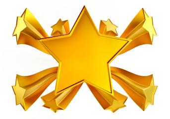 set of nine shiny gold stars in motion