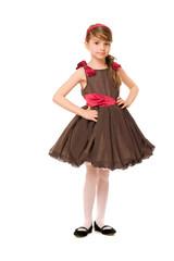 Cute little lady in a brown dress