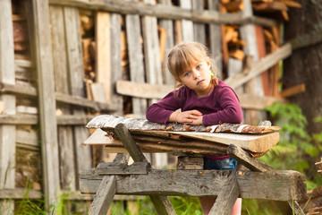 Lovely child in farm.