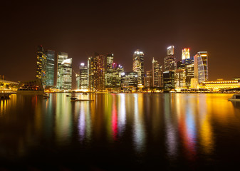A view of Singapore business district in the night time.