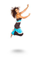 Happy Young Woman Jumping and Smiling