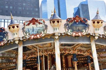 Traditional Parisian carousel in La Defense district