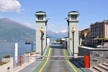 Ferry pier in Varenna town at the famous Italian lake Como