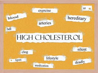 High Cholesterol Corkboard Word Concept