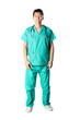 Chinese doctor wearing a green scrubs