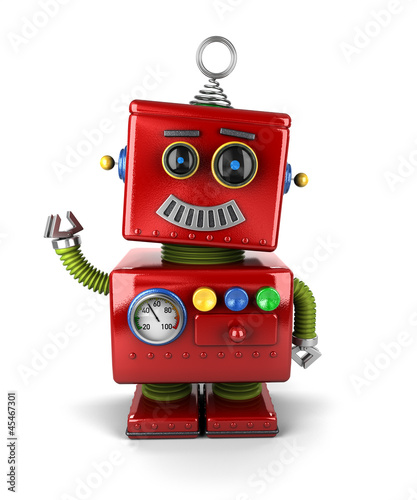 Happy vintage robot waving hello