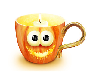 Whimsical Halloween Jack-O-Lantern Pumpkin Cup with Candle
