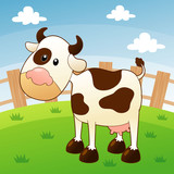 illustration of cow in farm