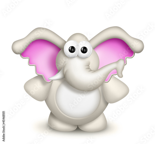 Whimsical Cute Cartoon Elephant