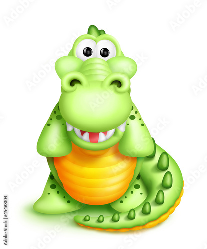Whimsical Cute Cartoon Alligator