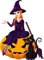Halloween Witch on pumpkin