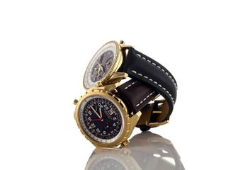 Mens luxury wrist watches on white