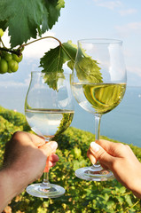 Two hands holding wineglasses against Geneva lake. Lavaux region