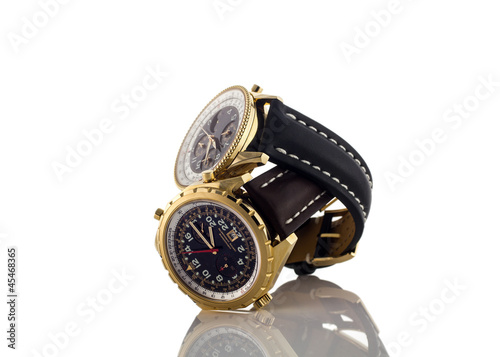 Mens luxury wrist watches on white