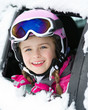 Winter holiday - happy child on the road for ski holidays