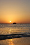 Fishing boat in beautiful sunrise