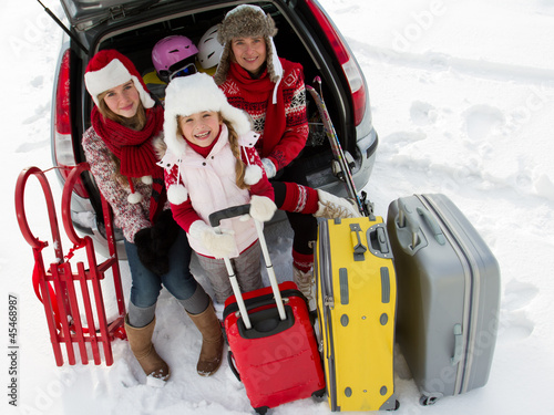 Family with baggage ready for the travel for winter holiday - 45468987