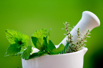 Fresh herbs in the mortar - alternative medicine